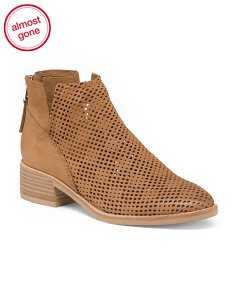 Perforated Stacked Heel Leather Booties