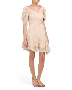 Juniors Woven Puff Sleeve Dress