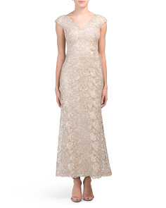 Petite All Over Lace V-neck Gown