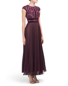 Petite Cap Sleeve Lace & Pleated Gown