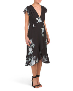 Juniors V Neck Floral Print Midi Dress