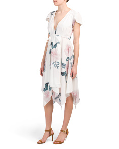 Juniors V-neck Asymmetrical Print Dress
