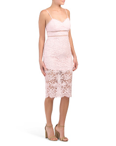Juniors Strap Lace Insert Bodycon Dress