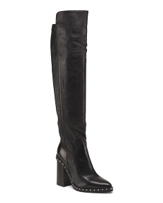 Made In Italy Studded Knee High Leather Boots