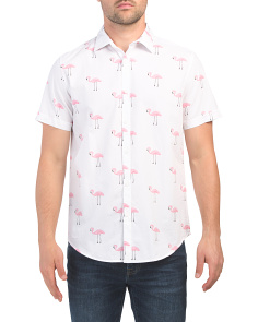 Short Sleeve Flamingo Print Shirt