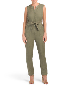 Pigment Dye Tapered Linen Jumpsuit