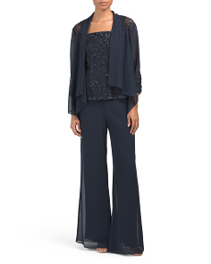3pc Chiffon Jacket Pant Set