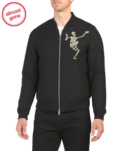 Wool Blend Bomber Jacket With Embroidered Skeleton