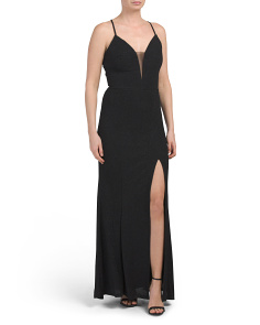 High Slit Deep V Glitter Gown