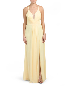 High Slit Deep V Neck Gown