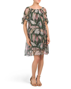 Made In Italy Silk Blend Feather Print Dress