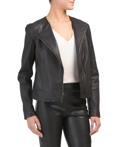 Asymmetric Zip Front Leather Jacket