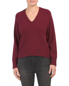 Deep V-neck Cashmere Raglan Sweater