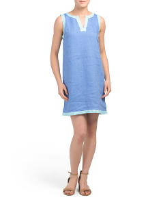 Linen Sleeveless Color Block Split Neck Shift Dress