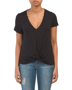 Juniors V Neck Slouch Twist Front Tee