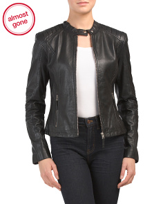 Shoulder Detail Leather Jacket