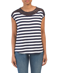 Striped Crochet Trim Round Hem Boxy Top