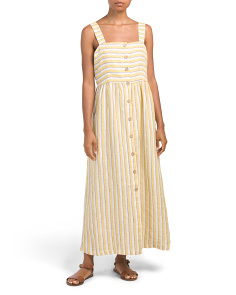 Linen Farm Button Front Striped Maxi Dress