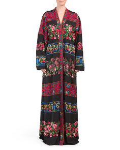 Made In Italy Silk Blend Kimono Dress