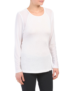 Mesh Detail Long Sleeve Top