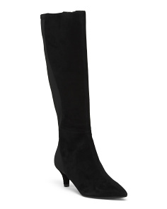 Stretch Kitten Heel Knee High Suede Boots