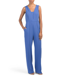 V-neck Sleeveless Crepe Jumpsuit