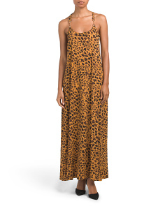 Leopard Print Maxi Dress With Hardware