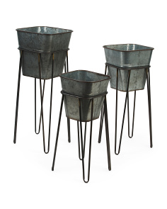 Set Of 3 Metal Planters With Stands