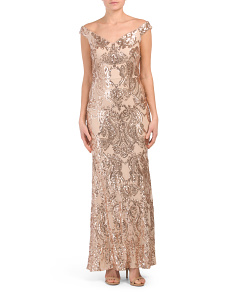 Made In Usa Off The Shoulder Sequin Gown