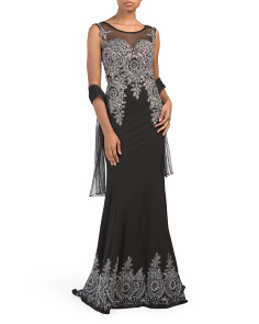 Sleeveless Beaded Embroidered Gown