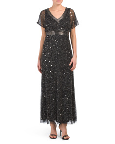 Petite Short Sleeve Sequin Jeweled Gown
