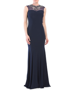 Petite Dress With Beaded Neckline
