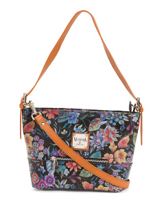 Made In Italy Floral Leather Tote
