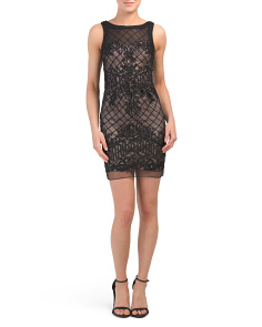 Petite Embroidered Mesh Dress