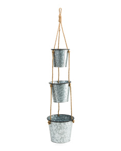 Indoor Outdoor 3 Tier Galvanized Planters