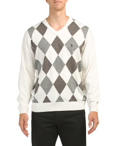 Long Sleeve V Neck Argyle Sweater