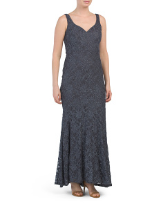 Made In Usa Glitter Lace Sweetheart Gown