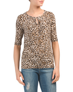 Elbow Sleeve Scoop Neck Top With Front Keyhole