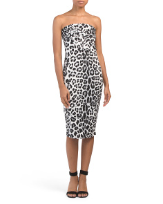Made In Usa Leopard Tube Midi Dress