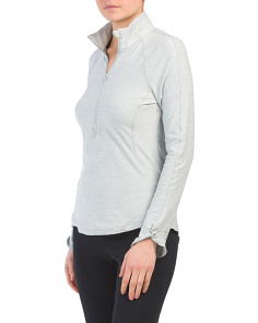 Peached Jersey Blend Quarter Zip Top