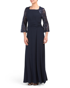 Sequin Lace Sleeve Gown