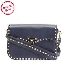 Made In Italy Rockstud Leather Shoulder Bag