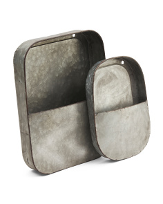 Set Of 2 Galvanized Wall Pockets