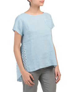 Made In Italy Linen Blend Hi Lo Crochet Top