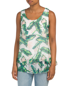 Made In Italy Palm Print Sleeveless Blouse