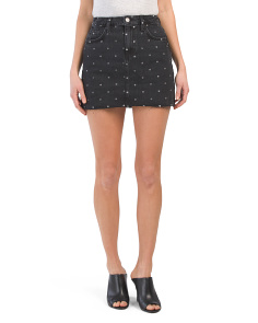 Made In Usa Polka Dot Denim Mini Skirt