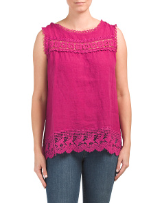 Made In Italy Linen Sleeveless Crochet Top