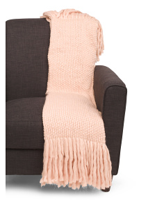 Wool Blend Throw With Fringe