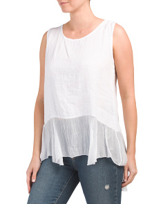 Made In Italy Sleeveless Linen Blouse