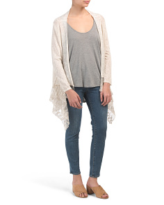 Made In Italy Lace Hem Drape Cardigan